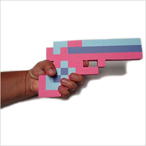 8 Bit Pixelated Pink Stone Foam Toy Gun | Sheknows.com
