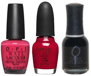 Pink, red, and black nail polish