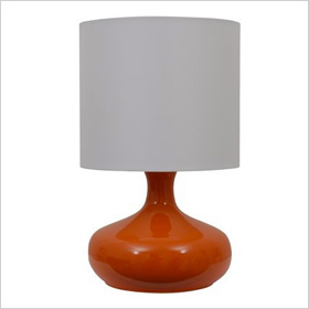 Orange Low Profile Gourd Lamp with White Drum Shade