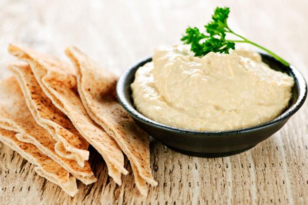 Pita chips with hummus