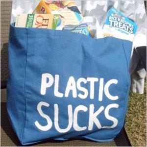 Plastic sucks statement bag