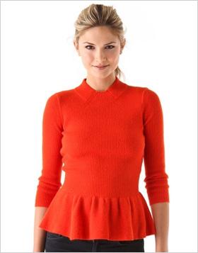 a sweet peplum sweater from Tory Burch