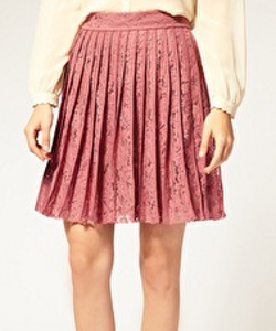 Whistles Nelly Pleat Lace Skirt
