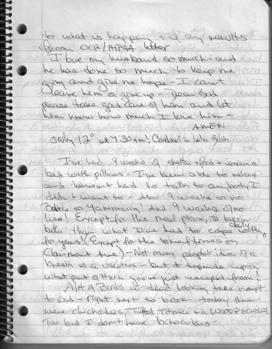 Linda Bishop diary page