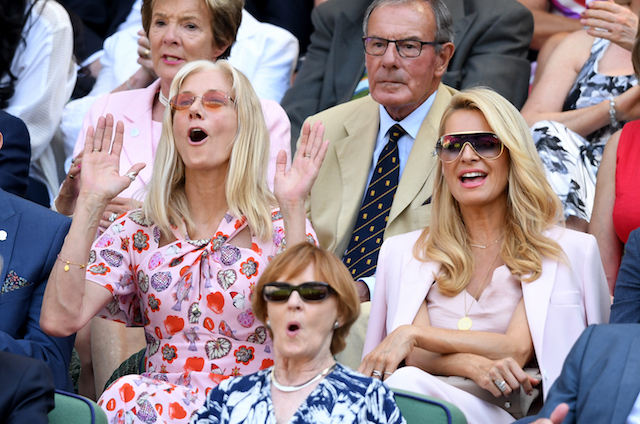 Joely Richardson and Tess Daly sit in the royal box on day two of the Wimbledon Tennis Championships