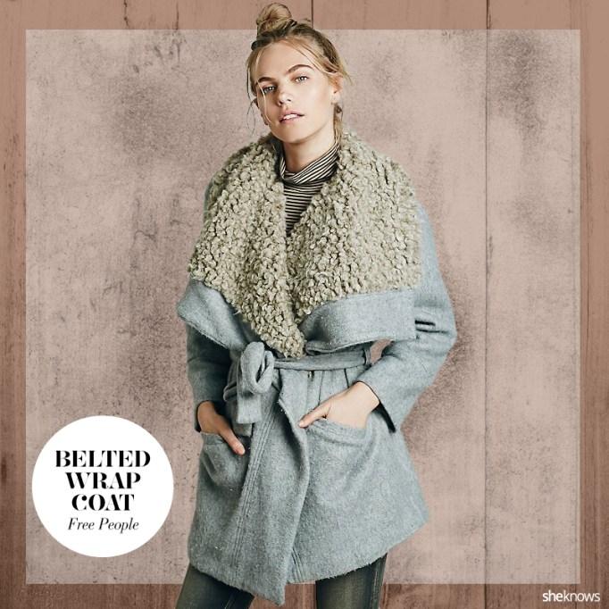 Fuzzy wrap fall jacket