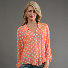 coral polka dot button down by Free People