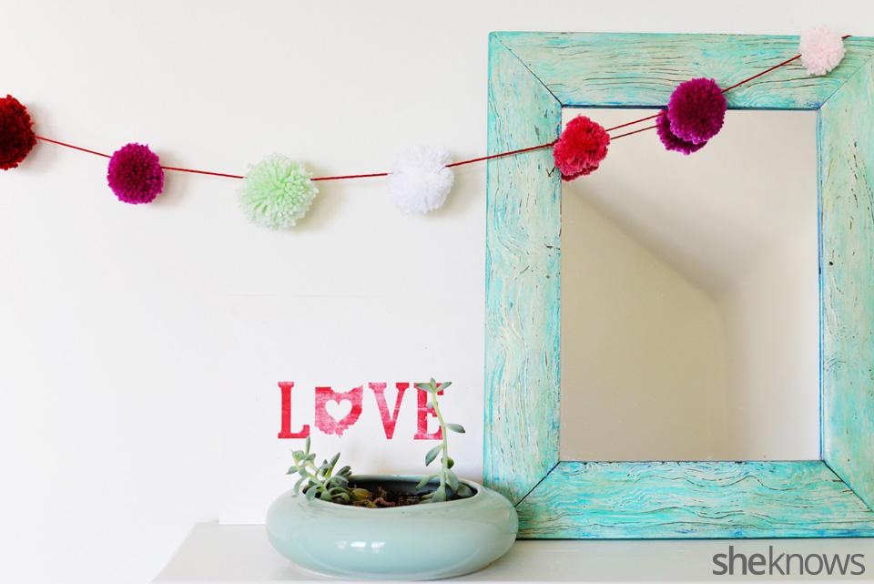 Valentine's Day pom pom garland