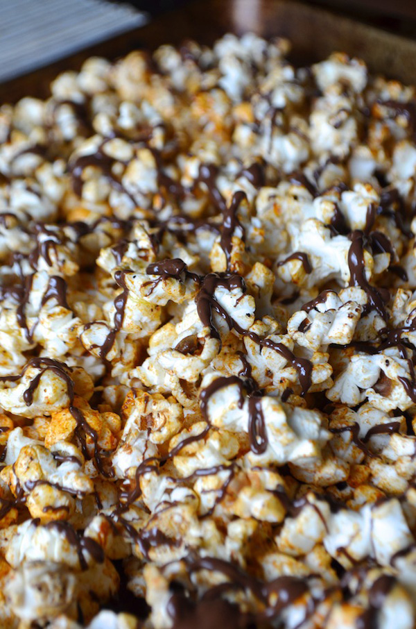 Ras el Hanout spiced popcorn with chocolate