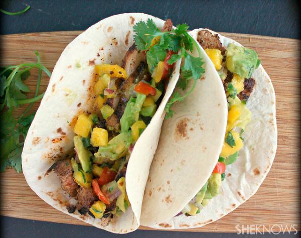 Grilled pork soft tacos with spicy avocado mango salsa