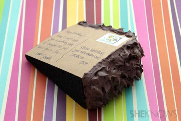 Postcard Cake Step 9: back of cake postcard