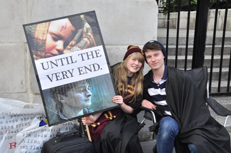 Harry Potter fans line up in London