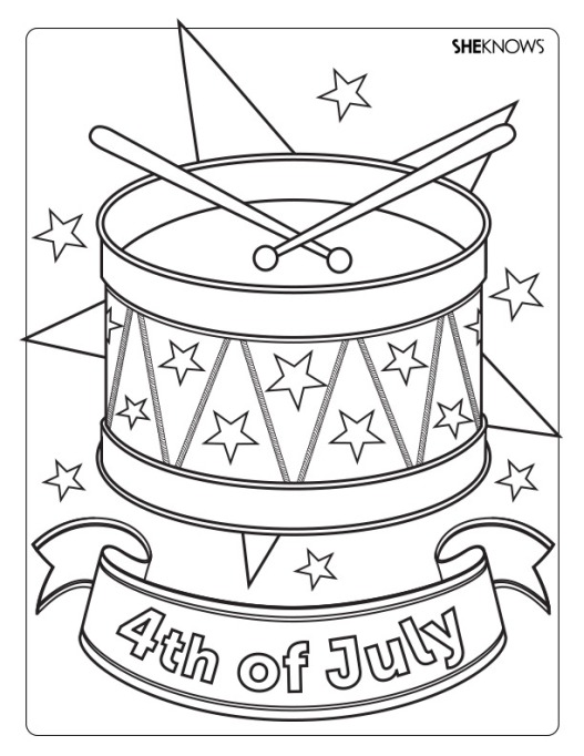 Drums and stars coloring page printable