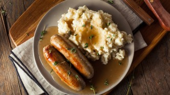 A Guinness Gravy-Smothered Bangers & Mash