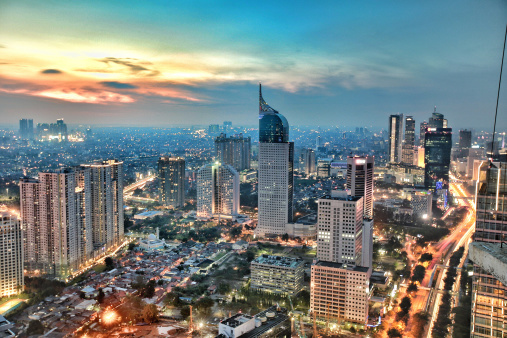 Indonesia, Jakarta, View of city during