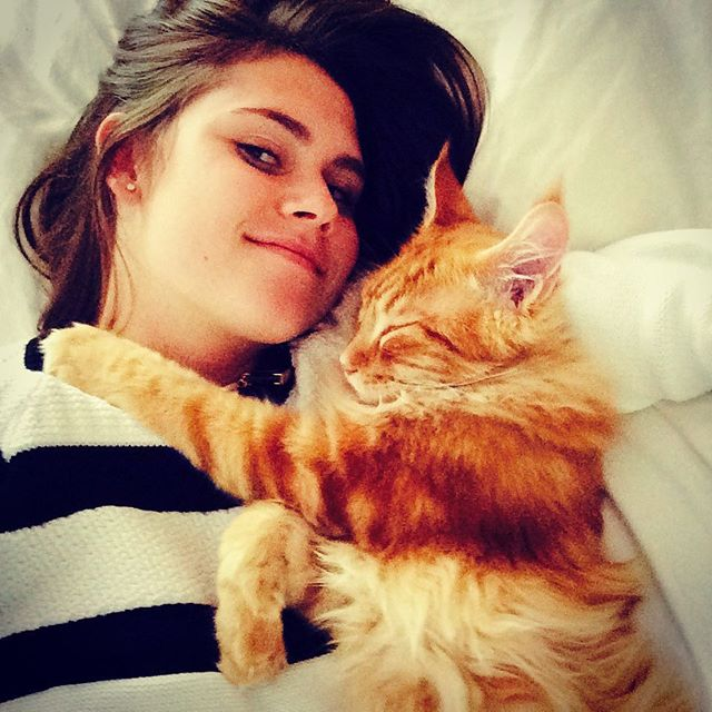 Sophie Flay and cat Nacho Flay