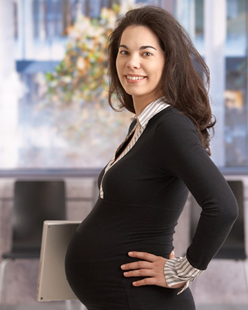 pregnant woman going to work