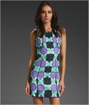 Print paneled dress