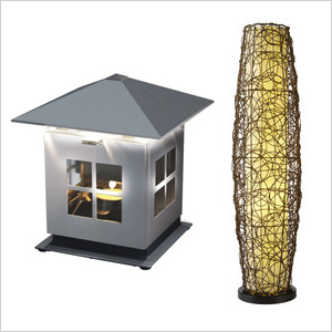 JOI Lantern and allen + roth 52-inch Aged Bronze Outdoor Floor Lamp
