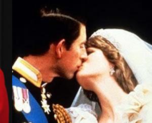 Prince Charles and Princess Diana kiss at their royal wedding