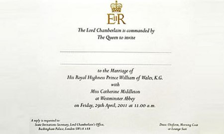 Prince William and Kate Middleton's wedding invite