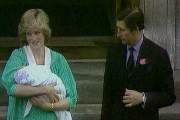 Princess Diana leaves the hospital with Prince William
