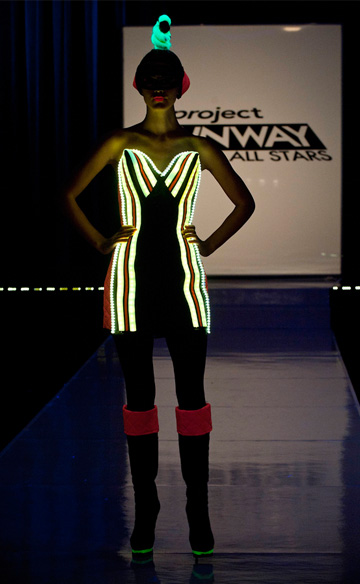 Project Runway -- Steal the look Episode 9 -- Mondo's strong and powerful black and neon dress