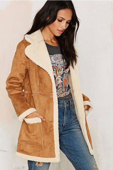 Perfect to Wear Shearling This Season | Long suede coat