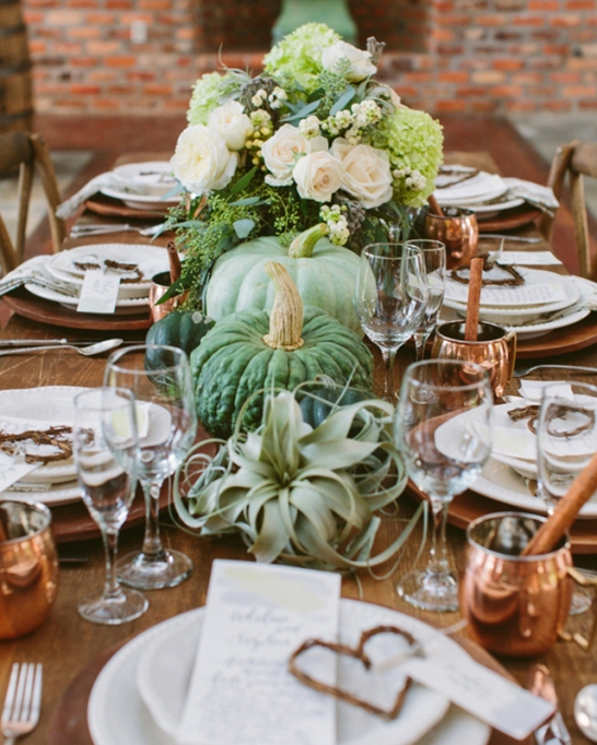 18 Homemade Thanksgiving Table Ideas That Even the DIY-Challenged Can Manage: Green and copper