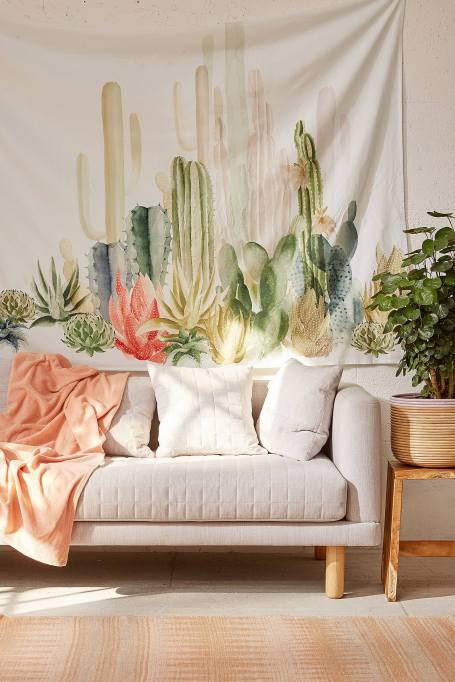 Modern Southwestern Decor: This cactus landcape tapestry makes a big statement