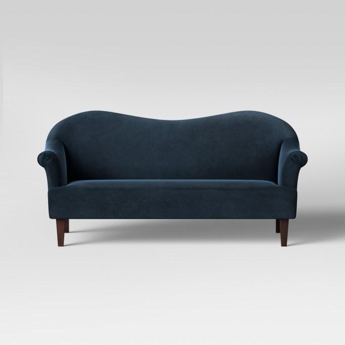 A navy blue sofa