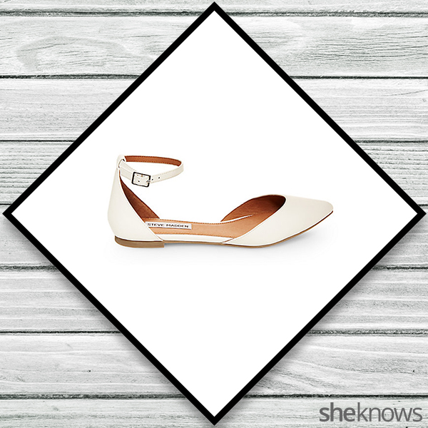 White ankle-strap flats