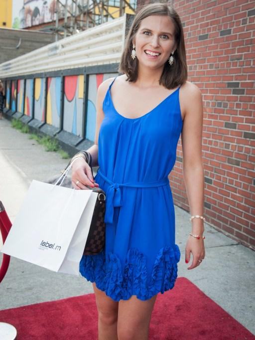Fashion week street style blue dress