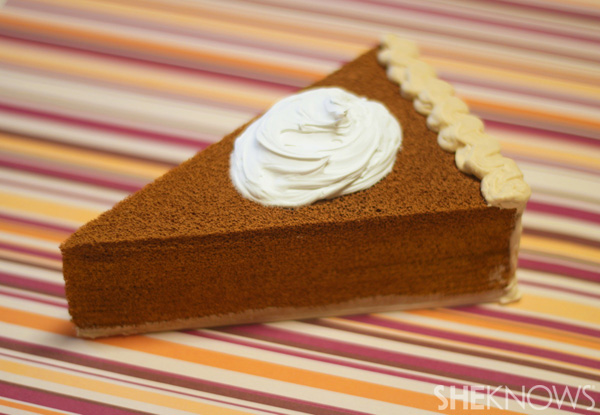 Finished pumpkin pie postcard, top view