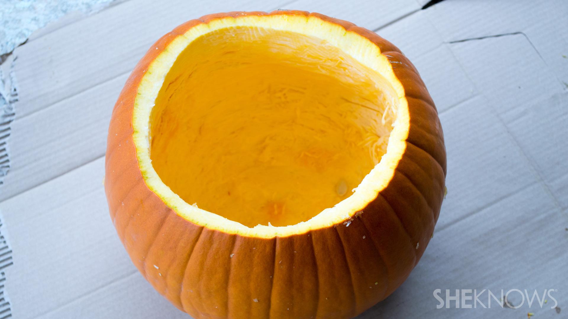 DIY Pumpkin planter: Make hole bigger