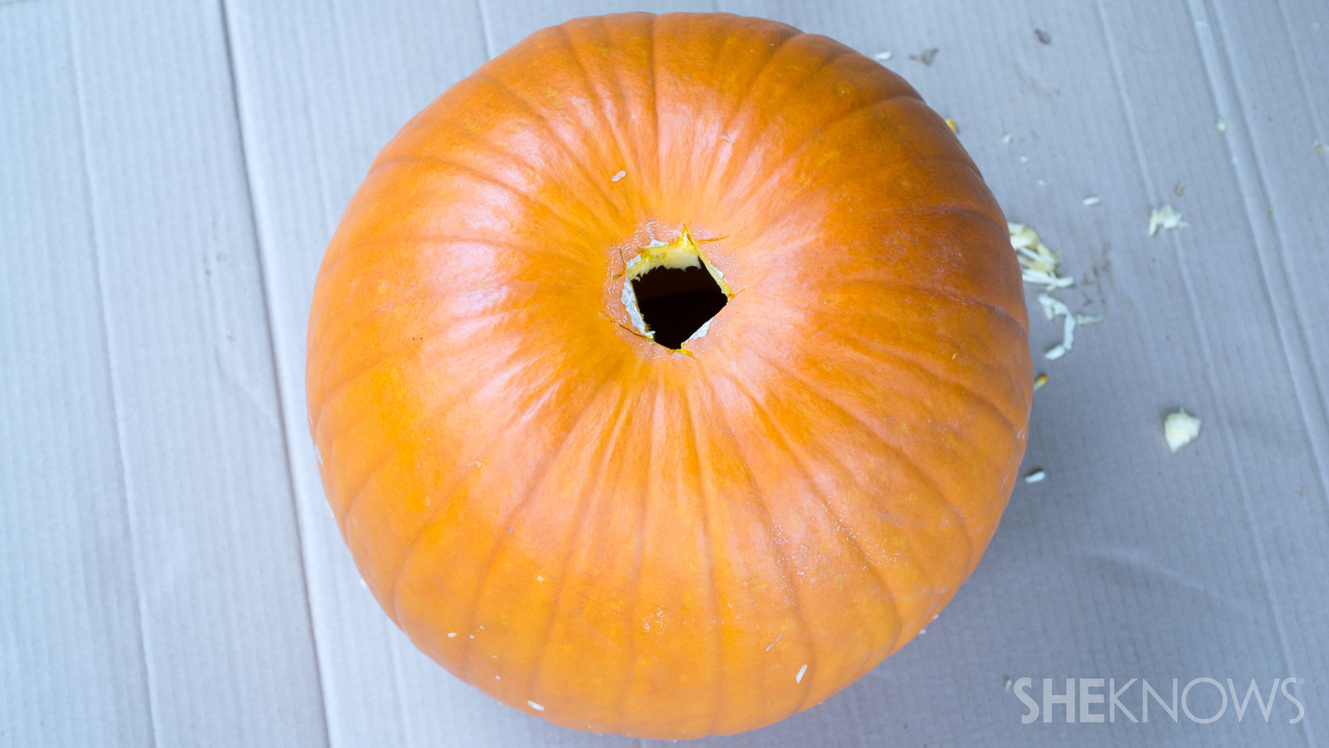 DIY Pumpkin planter: add drainage holes