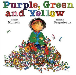 PUrple, green, and yellow cover