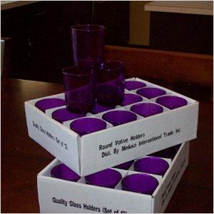 Purple votive holders