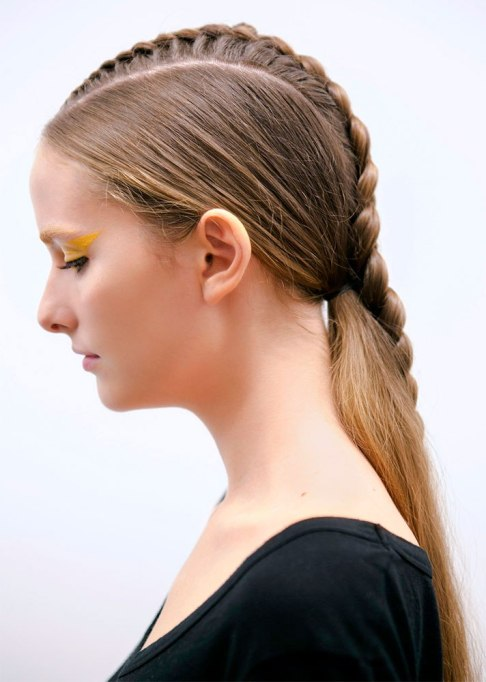 Low Ponytail with Braided Accent