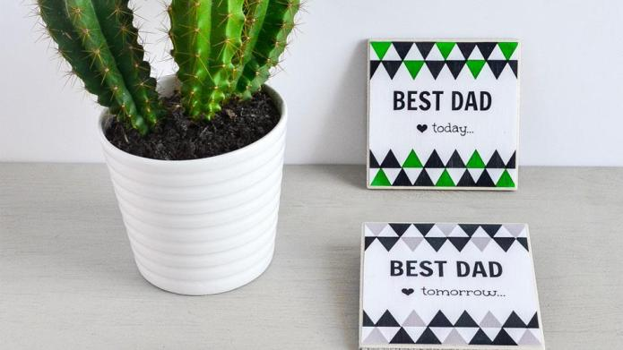 DIY personalized coasters for Father's Day