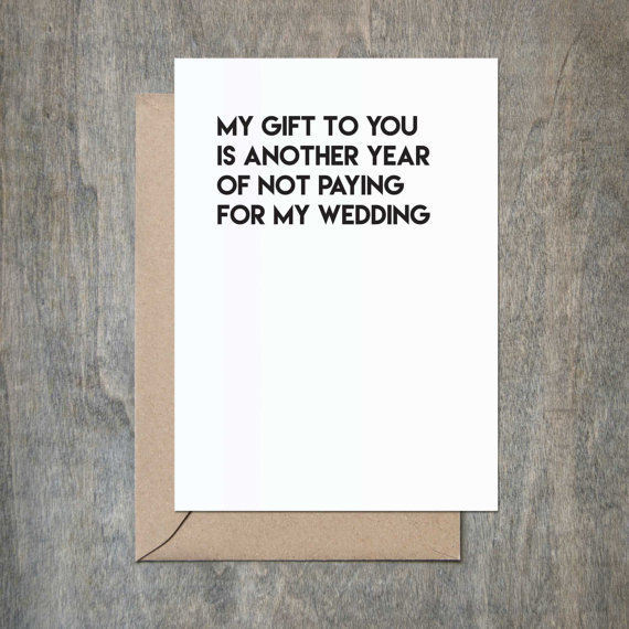 'Pay for my wedding' Father's Day card