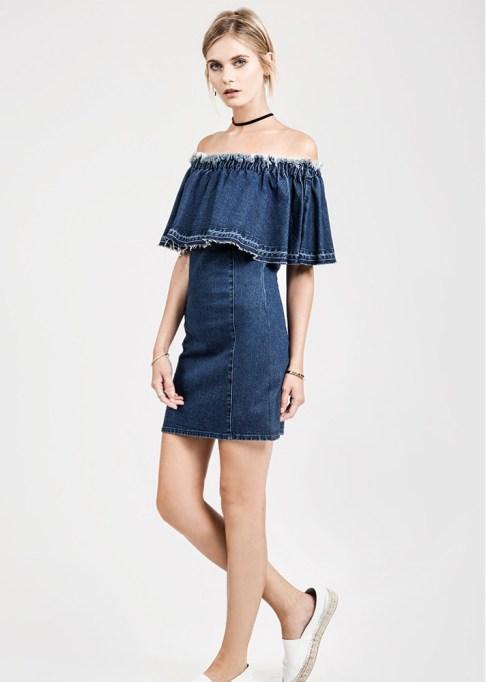 Denim Dresses Are Back: J.O.A. Off-the-Shoulder Dress | Summer Fashion Trends