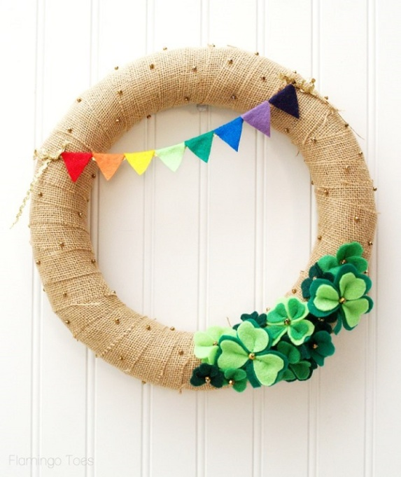 Shamrock wreath with rainbow banner
