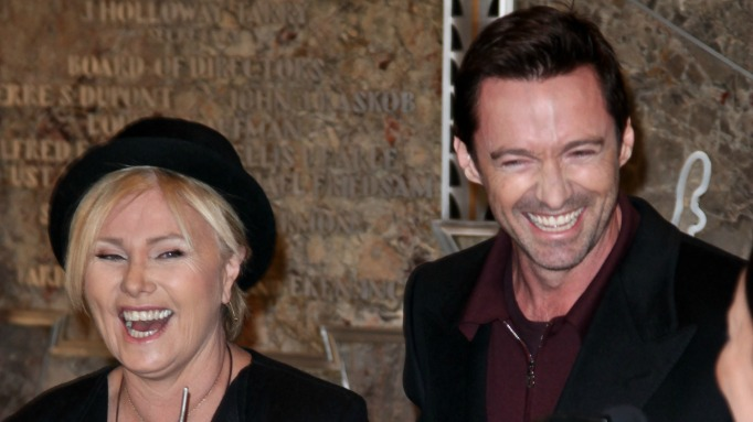 Deborra-lee Furness & Hugh Jackman laughing