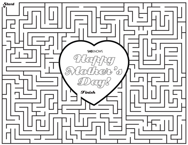 Mother's Day printable coloring page maze