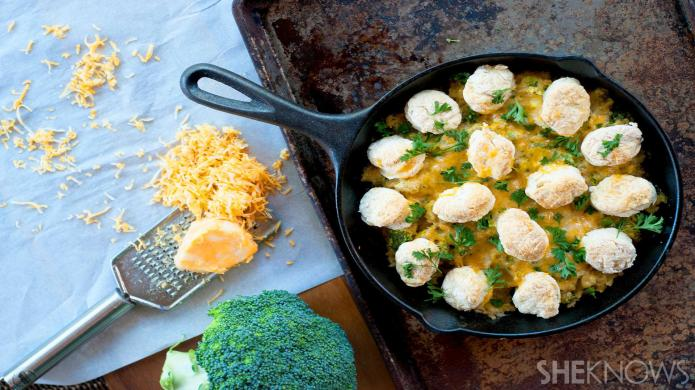 This healthy casserole topped with biscuits