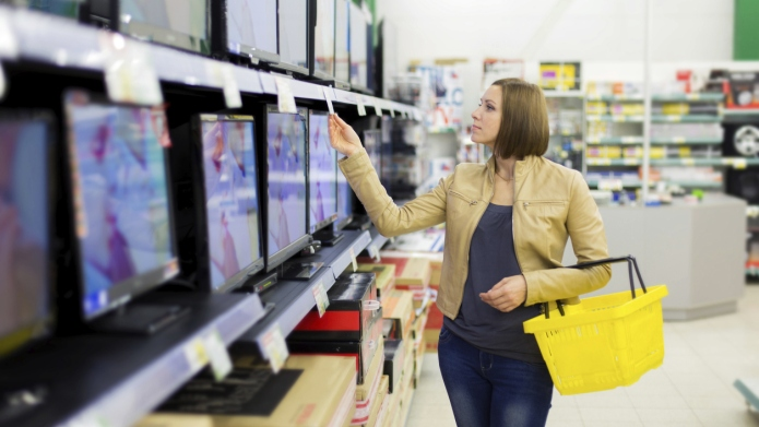 woman buys the TV