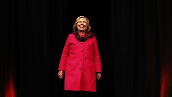 Hillary Rodham Clinton arrives to speak