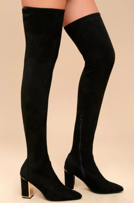 Best Pairs of Over-the-Knee Boots: Krystan Black Suede Thigh High Boots | Fall and Winter Fashion 2017