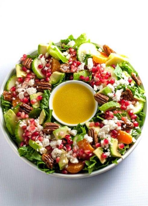 Yummy Winter Salads You'll Actually Crave   Pomegranate Mandarin Salad with Avocado and Feta
